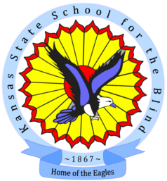 circle shape: center red circle, then yellow flower shaped circle outlined in red, the outside banner circle in light blue that reads 1867 Kansas School for the Blind. An eagle in fly diving position and talons ready to grab prey. The ribbon on the bottom of the circle says Home of the Eagles.