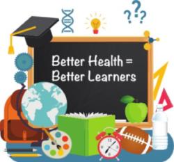 """""""Better Health = Better Learners"""" written in white chalk on a blackboard"""