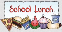 School lunch with pictures of pizza, hamburger, fries, watermelon, cupcake, hotdog and drink.