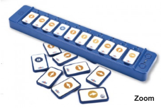 TacTile Reader Rectangular shape base with labeled cards to snap in specific order.