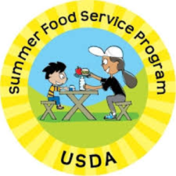 "Logo in shape of a circle with ""USDA Summer Food Service Program"" around edge and 2 kids at a picnic table eating hamburger and apple in center."
