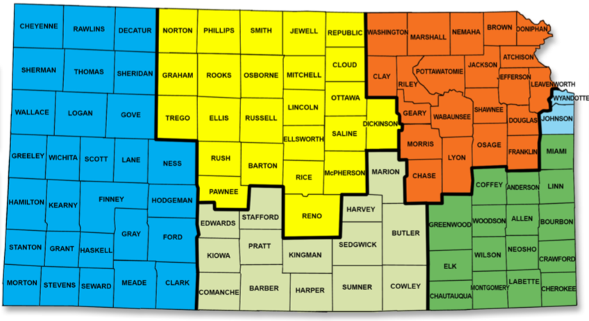 The map of Kansas divided into geographic regions. He region has a Field service specialist assigned and identified by color on the map.