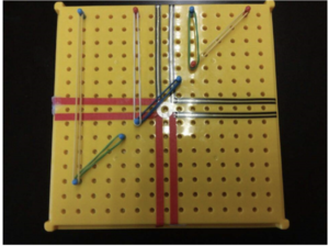 A yellow pegboard with rubber bands creating lines on the graph.