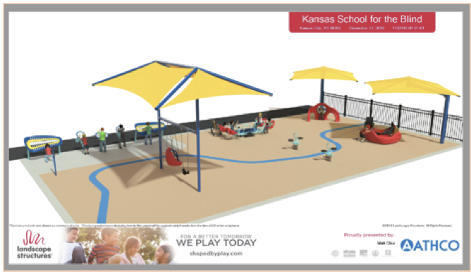 A rendering of a playground. 3 yellow canopies covering swing set and other equipment. 4 additional stations with equipment. Sand covering the ground