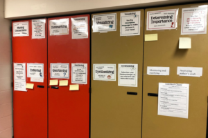 A wall with laminated papers pinned to it with topics of comprehension such as inferencing, sequencing, etc.