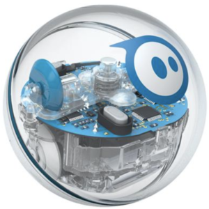A clear plastic ball with silver and blue gears and computer chips inside. A white circle with 2 blue dots in the center and and a blue border.