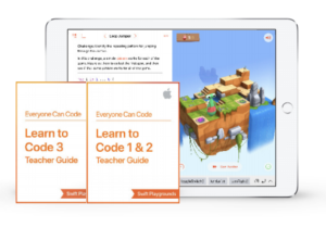 "iPad screen of Swift playground on the screen. Two small pdf that say ""Learn to Code 3"" and ""Learn to Code 1 & 2."""