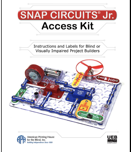 An advertisement APH Snap Circuits Jr. showing a rectangular clear base with red, blue, yellow and green snaps connected around the edge of base and connected to a propeller and wheel.