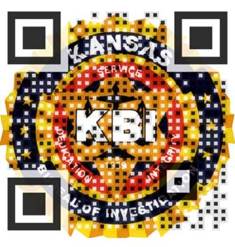 A circle yellow, black and red QR Code to report Suspicious Activity.