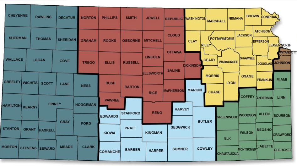 Map of Kansas divided into 6 geographic regions.