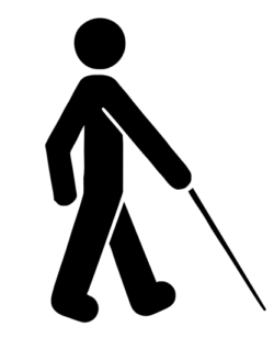 Outline Drawing Of A Man Walking With A Cane.