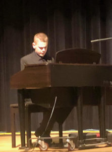 Jazz student playing the piano.