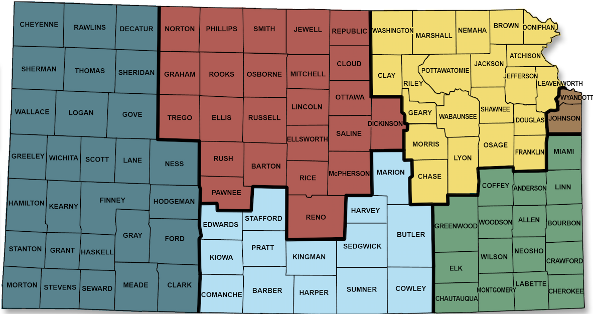 KSSB Field Service Map divided into six regions with county divisions: Graphic shows every county in 6 different sections: 28 Western counties in blue-green, 24 North Central counties in red, 14 South Central counties in blue, 21 Northeast counties in yellow, 16 Southeast counties in green and Wyandotte & Jackson County are brown..