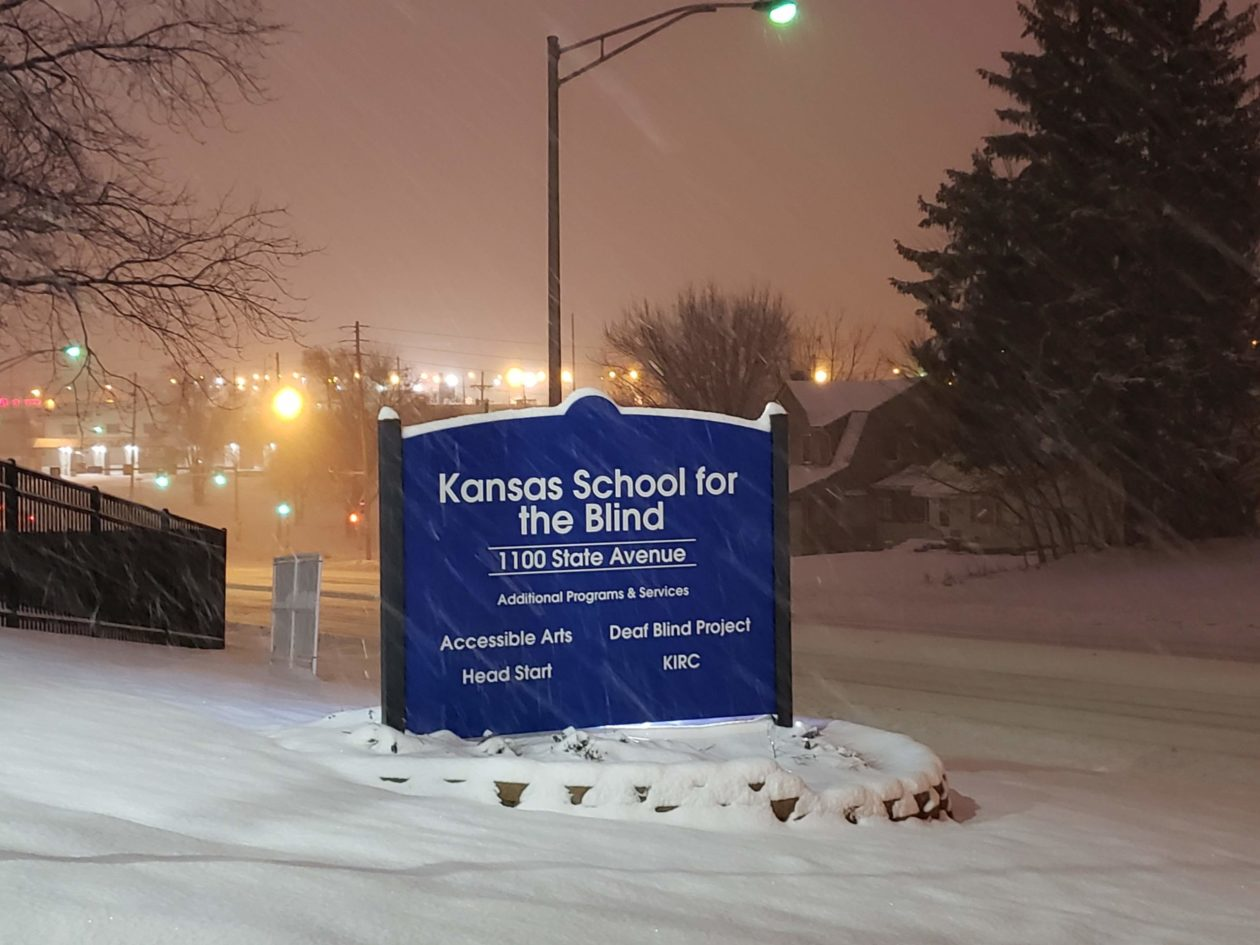 Snow around the entrance sign to KSSB.