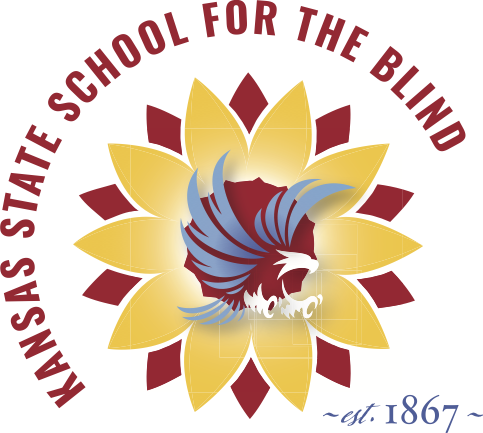 "A blue and white eagle is in front of a red and yellow sunflower. The words ""Kansas State School for the Blind"" and ""est. 1867"" are around the sunflower"
