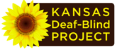 State of Kansas with a large Sunflower over the Western part of the state. Writing on the state says Kansas Deaf Blind Project.