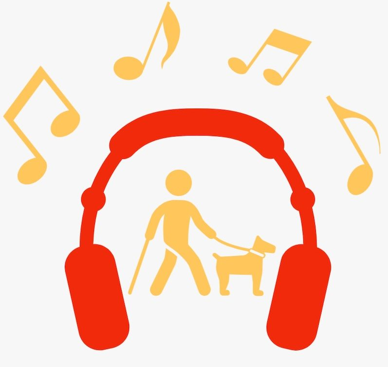 "Orange headphones, a male figure using a cane and guide dog, and musical notes with the words ""KSSB Podcast"" serve as a logo."