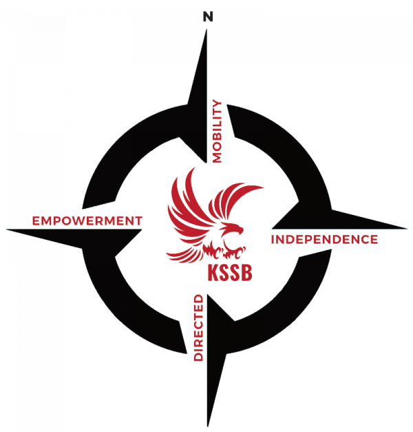 A black compass rose with a red KSSB eagle in the middle.