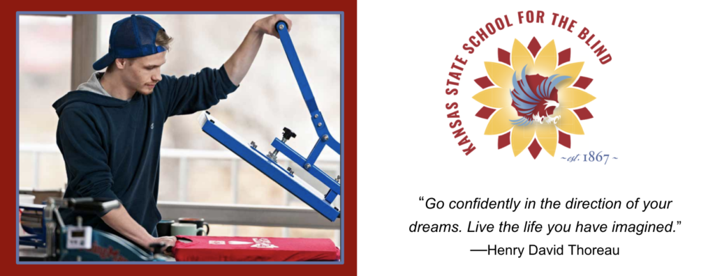 A student using screen press add print to a t-shirt. The KSSB logo sunflower with flying eagle in center. Henry David Thoreau Quote from above.