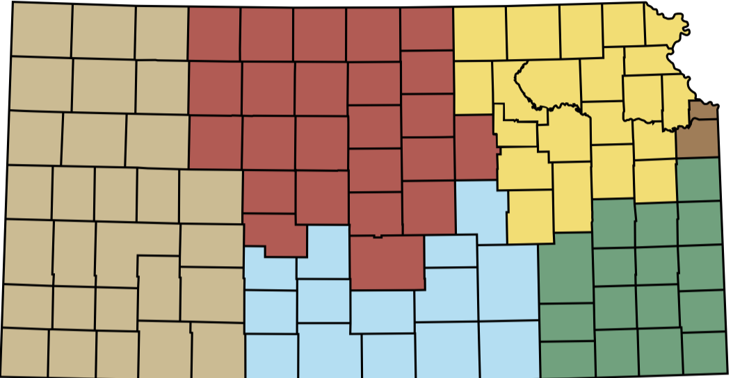 State of Kansas Map with counties divided into 6 geographic regions. West, North Central, South Central, NE, SE and WyCo/JyCo