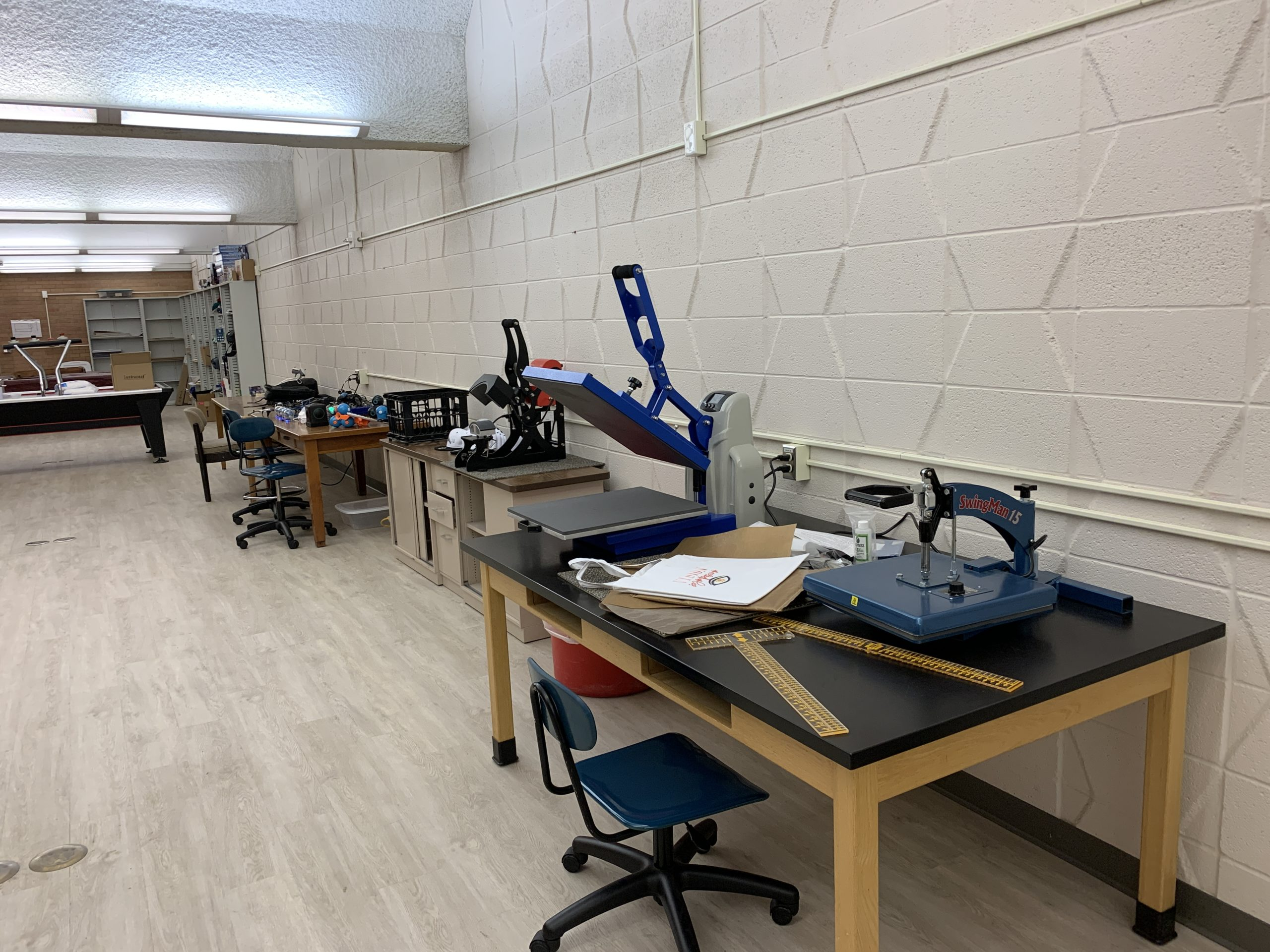makerspace 2 with equipment on tables