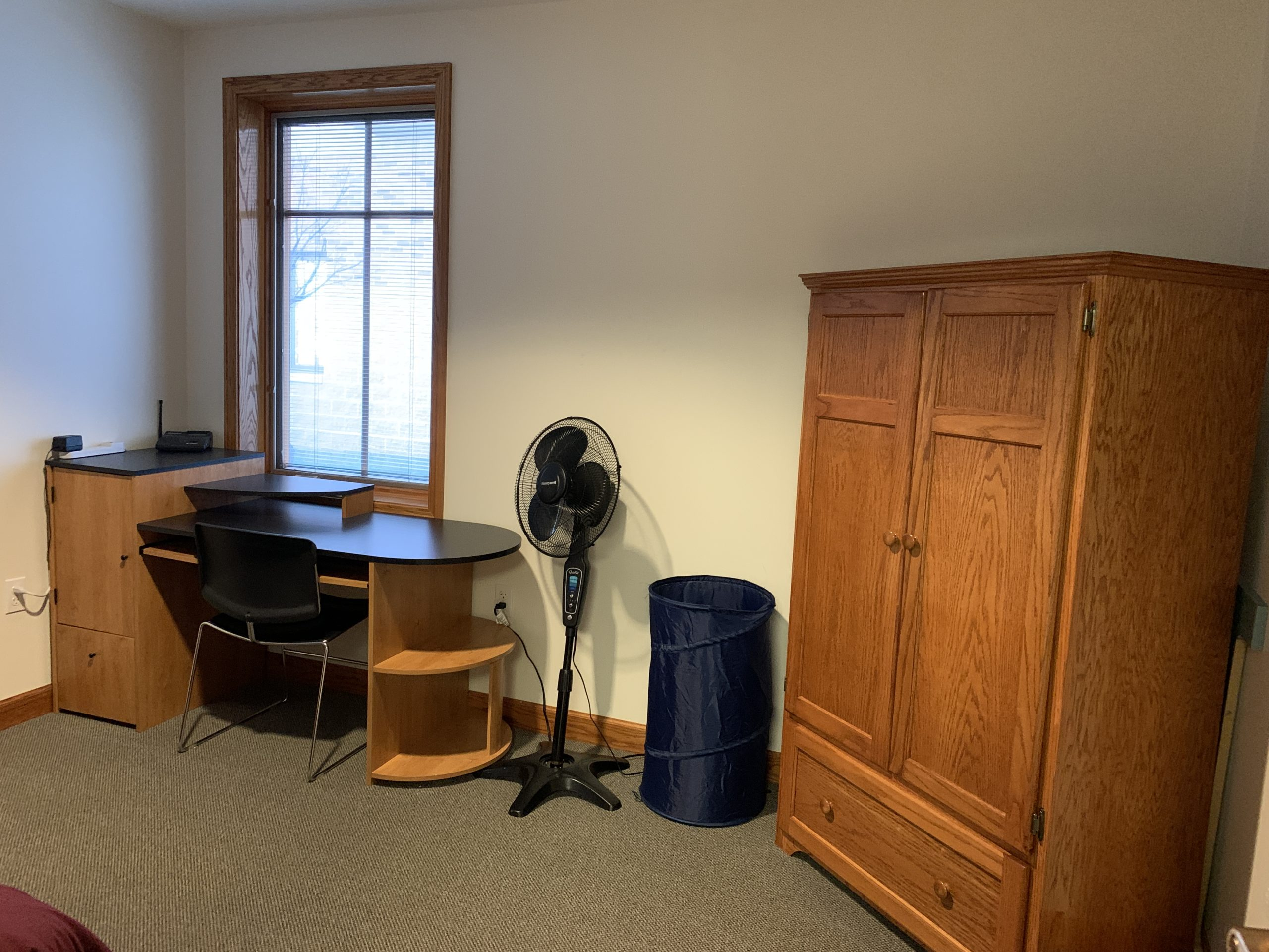 Cottage Bedroom Desk, Standing Fan, And Wardrobe
