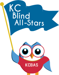 Owl Wearing KCBAS Shirt Holding A Flag That Reads KC Blind All-Stars